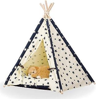 Dog House Pet Tipi för hundkatter, bärbar sällskapsdjur valpkatt Stora tält med golvmatta för små till stora hundar (färg...