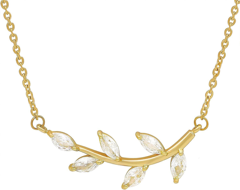 Bonayabo Olive Leaf Necklace Greek Rhinestone Tree Pendant Necklace for Women