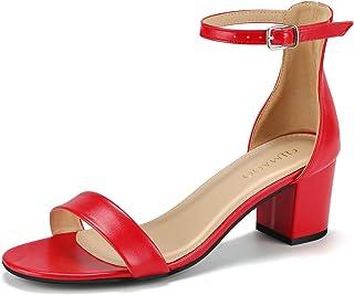 9e2c3f7b3def Qimaoo Femme Été Sandales à Talon Carré, Chaussures à Haut Talon de 6cm  pour Mariage