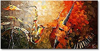Everfun Art Hand Painted Abstract Canvas Wall Art Ready to Hang Music Instrument Modern Oil Painting Contemporary Artwork Stretched (Framed 6030 inch)