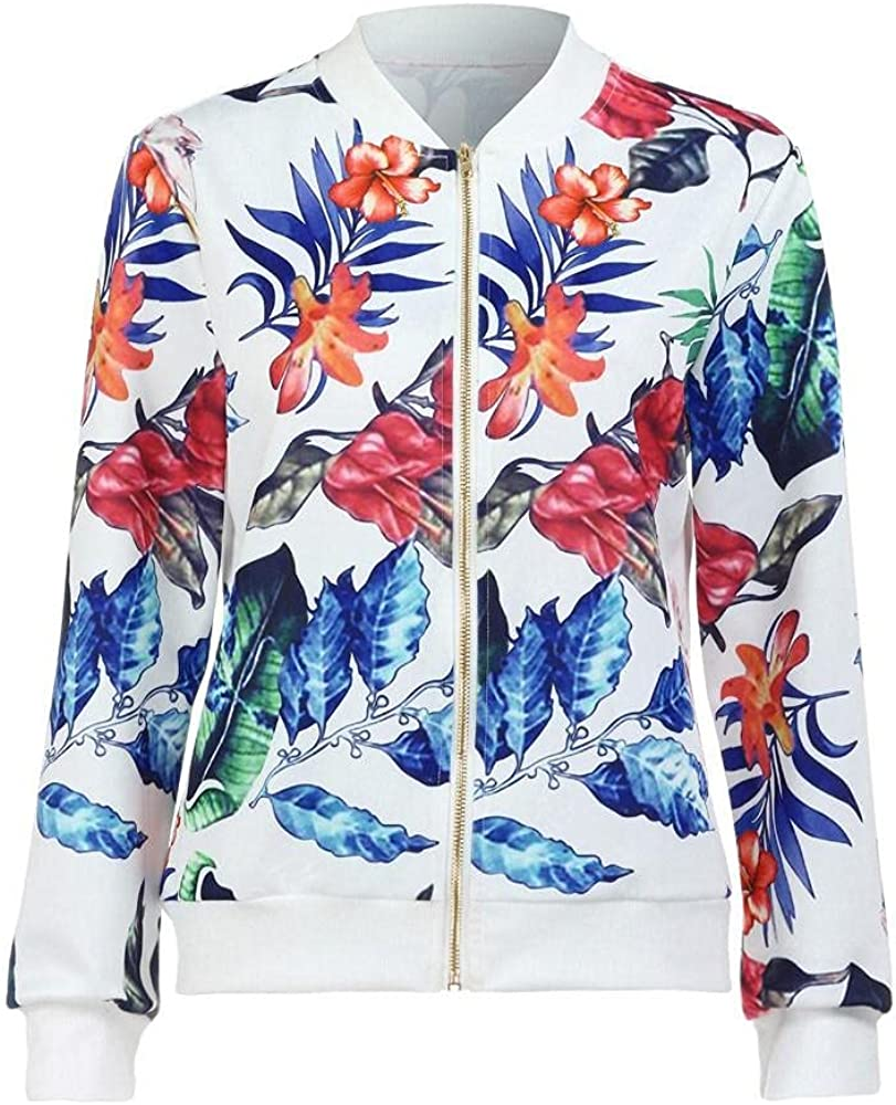 Kcocoo Womens Jackets Lightweight Zip Up Casual Inspired Bomber Jacket Floral Print Coat Stand Collar Short Outwear Tops