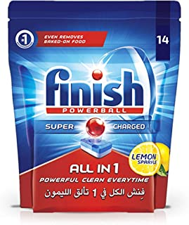 Finish Dishwasher Detergent Tablets, All in One Lemon, 14s