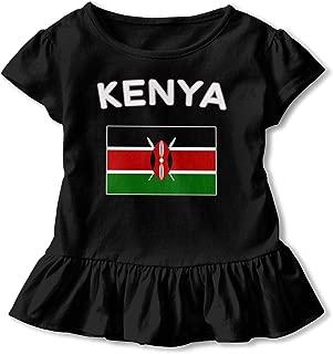 Kenya Text with Kenyan Flag Baby Girls' Short Sleeve Ruffles T-Shirt Tops, 2-Pack Cotton Tee