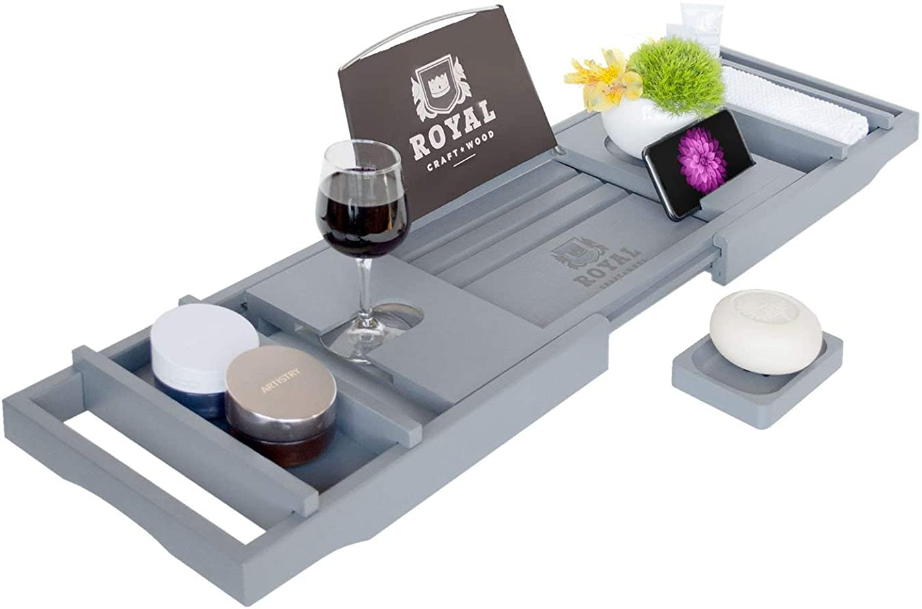 Royal Craft Wood Luxury Bamboo Bathtub Caddy Tray with Book and Wine Holder - One or Two Person Bath and Bed Tray with Extending Sides - Free Soap Dish - (Gray)