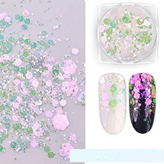 utda.sh-fs women's nails Nail Art Glitter Decorations Foil Sticker Candy Colors Flakes Nail Kit Sequins Manicure DIY Nail Art Kit Chips Supplies (E)