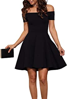 Womens Off The Shoulder Short Sleeve Cocktail Skater Dress