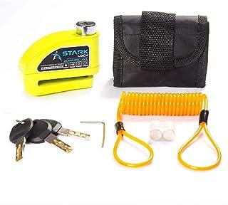 Kit Trava de Disco Verde c/Alarme Anti Furto Segurança Proteção Moto Bike com Bolsa e Cabo Lembrete