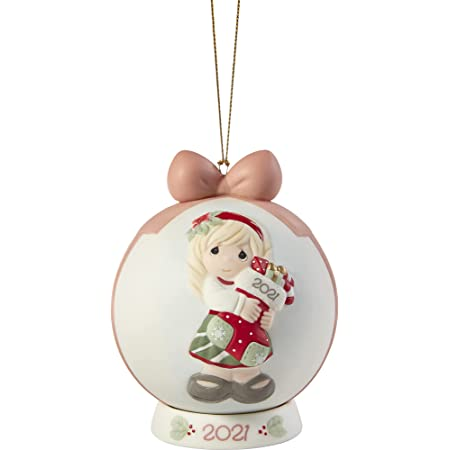 Precious Moments 211003 You Fill Me with Christmas Cheer 2021 Dated Bisque Porcelain Ball Ornament , White