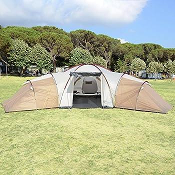 Skandika Turin 12 ? Tente Camping Familiale 12 Personnes - 840x720x200cm - 3 cabines (Brun/Beige)
