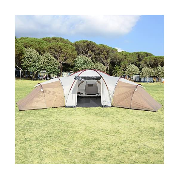 Skandika Turin Large Family Group 12-Person Tent with 3 Sleeping Rooms and Sun Canopy Porch (Grey/Orange)