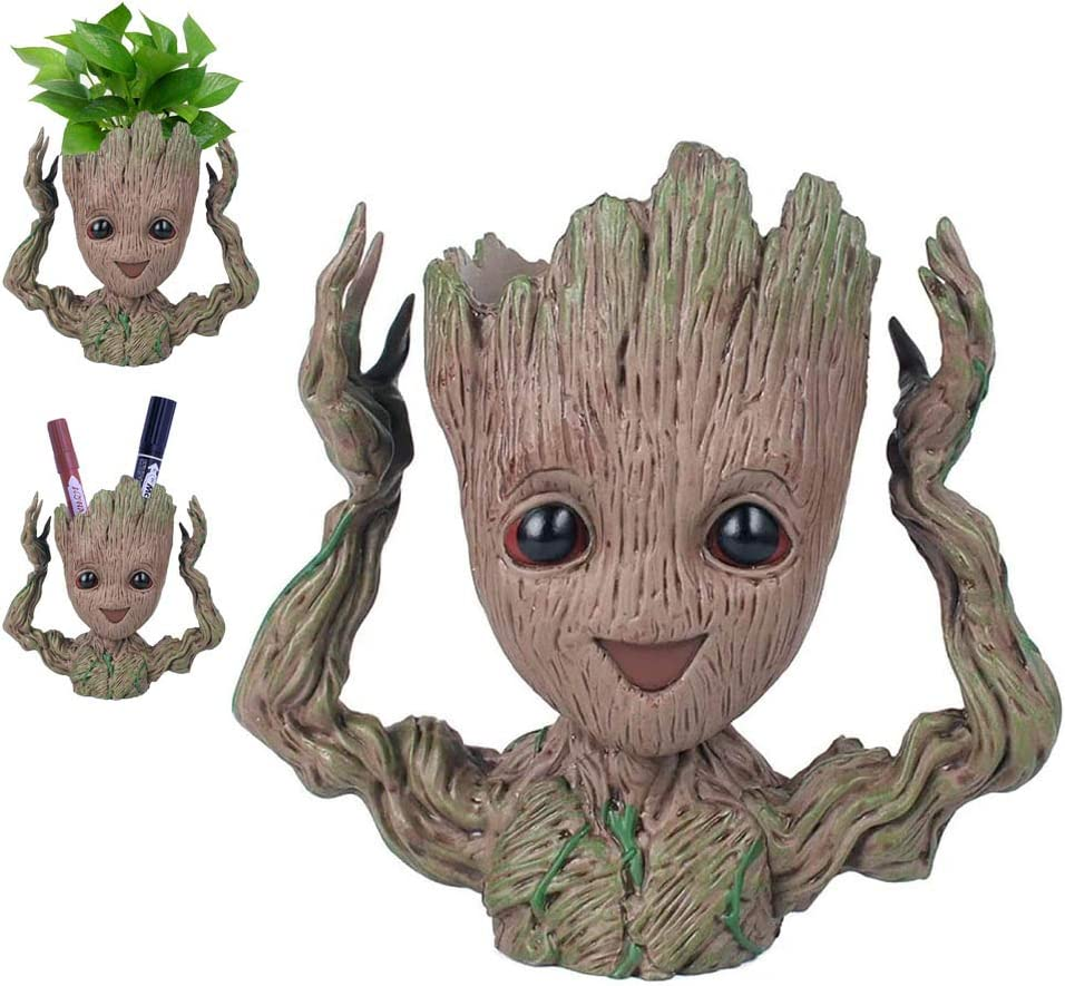Baby Groot plantes aquarelles dessins anim/és pot /à fleurs porte-stylo Escarpins figurines pour b/éb/é cadeaux cr/éatifs pour adultes et enfants