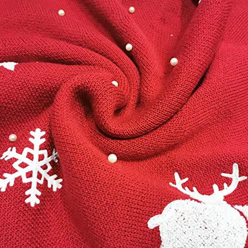 2021最新型ホームパーティーの休日の装飾のためのクリスマスツリートナカイ雪のパターンクリスマスツリースカートマットと48Inch大きな赤いクリスマスツリーのスカート太いニットクリスマスツリーのスカート