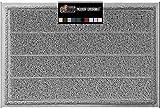 Gorilla Grip Original Durable Indoor Door Mat, 35x23, Large Size, Heavy Duty Doormats, Commercial Waterproof Stripe Doormat, Easy Clean, Low-Profile Mats for Entry, Garage, High Traffic Areas, Gray