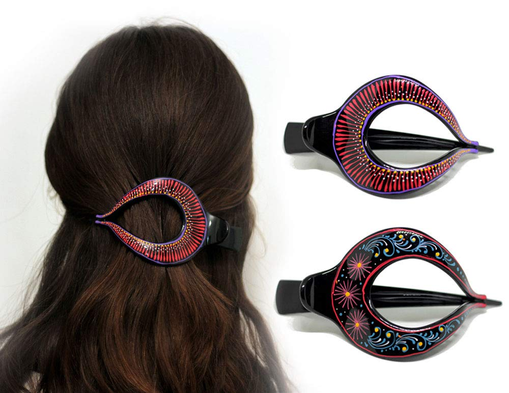 Hair Barrette Hand painted Clips. Gir for and Styling Women Some reservation Jacksonville Mall