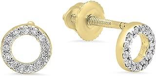 Round White Diamond Ladies Circle Shape Stud Earrings
