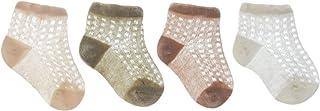 Lote de 4 pares de calcetines antideslizantes para bebé o niño, de algodón, de malla transpirable