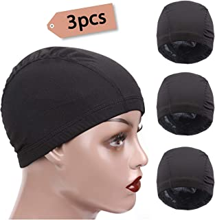 3 Packs Small Spandex Dome Style Wig Cap, Ultra Stretch Dome Cap for Making Wigs, Elastic Hairnets Wig Caps for Men Women (Black)