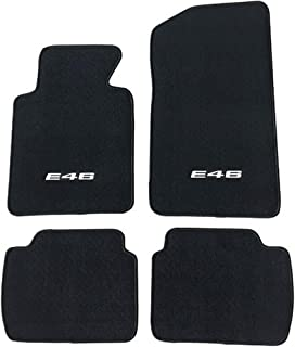 Floor Mat Compatible With 1999-2005 BMW E46 Logo 3-Series | Factory Fitment Floor Mats Carpet Front & Rear Nylon by IKON MOTORSPORTS | ?2000 2001 2002 2003 2004