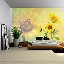 Papel pintado de pared con diseño de girasoles sobre un fondo amarillo con un fondo de girasol, decoración para el hogar, ...