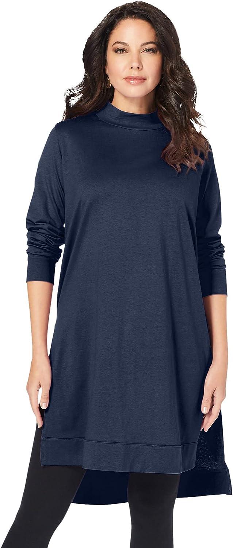 Roaman's Women's Plus Size High-Low Mockneck Ultimate Tunic Mock Turtleneck Long Sleeve Shirt