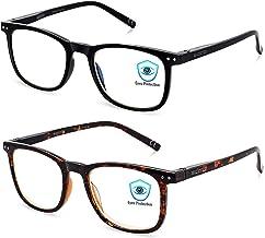 Blue Light Blocking Glasses, 2Pack Cut UV400 Computer Glasses for Anti Eyestrain (Tortoise + Black)