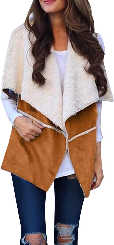 VEKDONE Women Faux Suede Warm Fleece Vest Jacket Fashion Open Front Sleeveless Sherpa Vest Cardigan Outwear