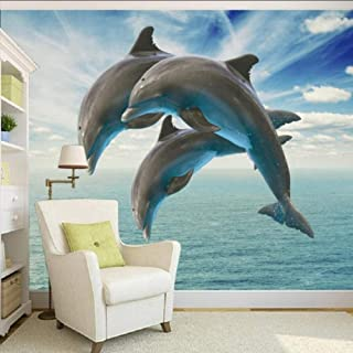 xbwy Photo Wallpaper Hd 3D Stereo Naked Dolphin Jumping Tv Background Decorative Painting Custom Wallpaper Lobby Mural-200X140Cm
