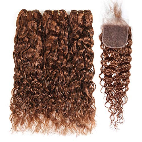 XCCOCO 30# Brown Water Wave Pre Colored Human Hair 3 Bundles with Closure Wet and Wavy Light Auburn Peruvian Virgin Curly Hair Bundles with Lace Closure(10 12 14+10inch Closure)