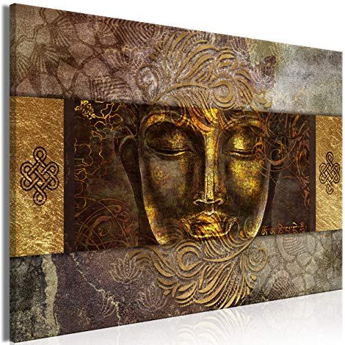 decomonkey Bilder Buddha 120x80 cm 1 Teilig Leinwandbilder Bild auf Leinwand Vlies Wandbild Kunstdruck Wanddeko Wand Wohnzimmer Wanddekoration Deko Zen Orient Abstrakt Gold