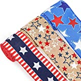 3 Rolls Patriotic Ribbon Wired Ribbon 4th July Ribbon Burlap Star Patriotic Ribbons for Independence Day Flag Day Memorial Day Party Decoration, 2.5 Inch x 6.5 Yards