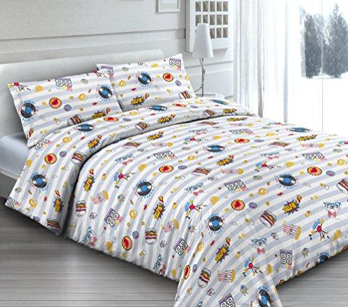 Smartsupershop Housse de Couette avec taies d'oreiller pour lit – Giocoso Frolic – Y Compris sous avec Coins en coordonné – en Coton Fabriqué en Italie