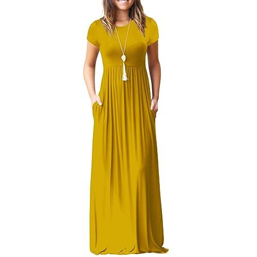 fcae735b2a23 Jennyarn Women Short Sleeve Plain Loose Long Maxi Casual Dress with Pocket
