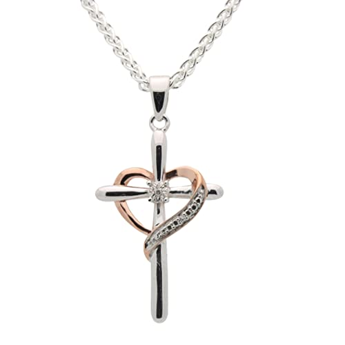 All Patron Saints Diamond Heart Cross Necklace for Women - 925 Sterling  Silver 67ae458ac