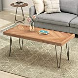 P PURLOVE Industrial Wood Coffee Table, Nature Cocktail Table for Living Room Chevron Pattern & Metal Hairpin Legs, Nature Rustic Rectangular Table