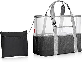 YOOFAN Sac de Plage - Sac fourre-tout en maille durable pour femme avec 7 poches, 1 crochet et 1 sac de rangement pliable