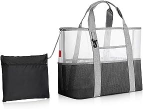 Große Mesh Strandtasche, mit Kordelzug Tasche Karabiner, Sand Spielzeug Wasserspielzeug Aufbewahrungstasche, Beach Bag Tote Faltbare Weiche Einkaufstaschen
