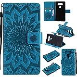pinlu® PU Leder Tasche Etui Schutzhülle für LG V20 Lederhülle Schale Flip Cover Tasche mit Standfunktion Sonnenblume Muster Hülle (Blau)