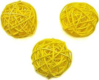 Ougual 10pcs Wicker Rattan Balls Table Wedding Party Christmas Decoration (Diameter 6cm, Yellow)
