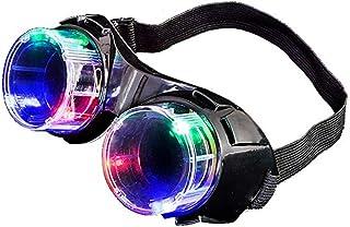 Flashing Light Up Steampunk Mad Scientist Black Goggles
