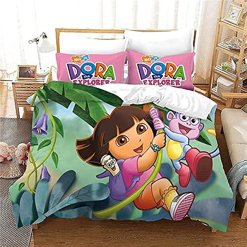 LWtiao-x Anime Juego de ropa de cama para niña, 3D Dora The Explorer, funda nórdica y funda de almohada de 80 x 80 cm, sábana de microfibra (8,155 x 220 cm + 80 x 80 cm)