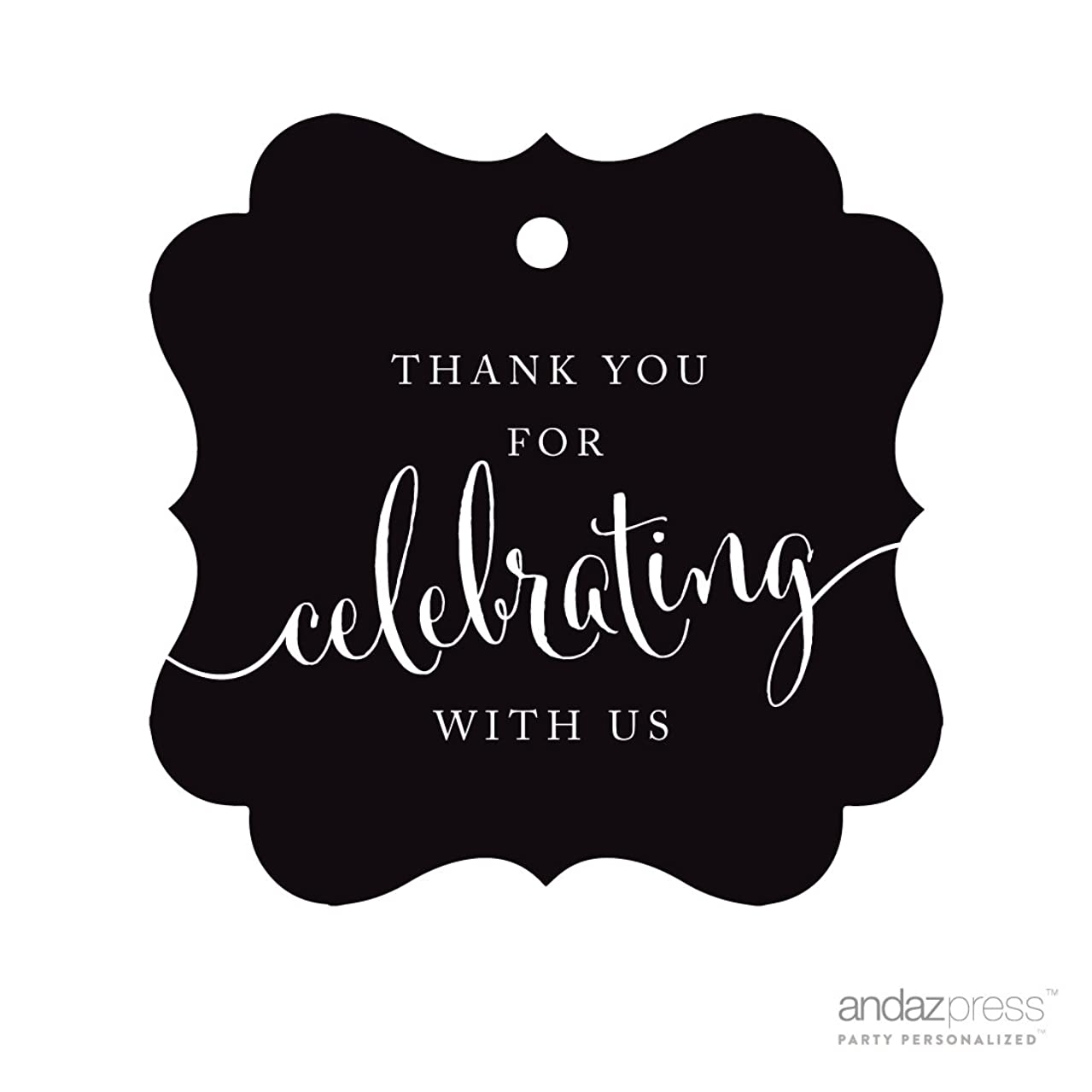 Andaz Press Fancy Frame Gift Tags, Thank You For Celebrating With Us, Black, 24-Pack, For Baby Bridal Wedding Shower, Kids 1st Sweet 16 Quinceanera Birthdays, Anniversary, Graduation, Baptism, Christening, Confirmation, Communion Party Favors, Gifts, Boxes, Bags, Treats and Presents
