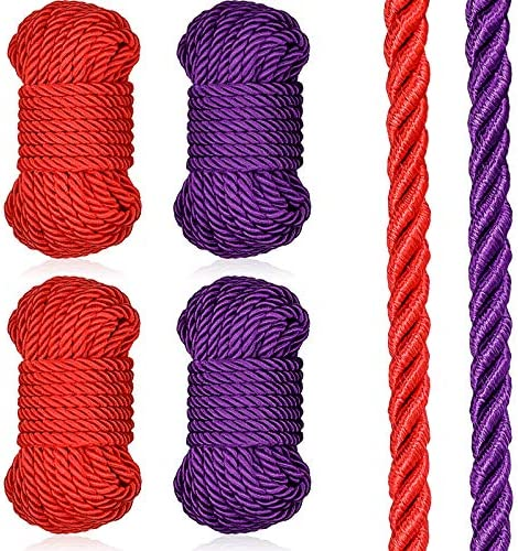 4 Pieces 32 Feet Braided Twisted Silk Ropes 8mm Diameter Soft Solid Braided Twisted Ropes Decorative product image