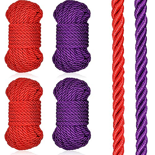 32 Feet Braided Twisted Silk Ropes 8mm Diameter Soft Solid Braided Twisted Ropes Decorative Twisted Satin Shiny Cord Rope for Most Purpose and DIY Craft (Purple, Red,4 Pieces)