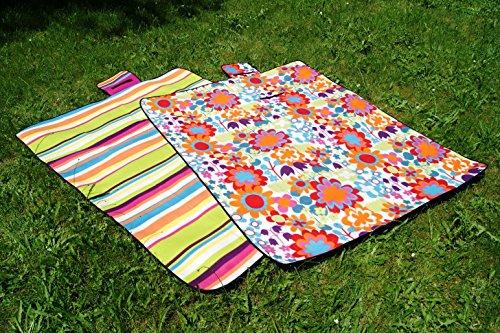 fashion and joy Picknickdecke Campingdecke Strandmatte Streifen bunt 175x135 cm Isomatte wasserdicht Outdoor Garten Decke mit Griff zu Tasche faltbar Pärchendecke Typ356