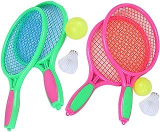 66f1330ba LIOOBO 4 UNIDS / 2 Unidades Niños Pelota de Playa Raqueta de Tenis Raqueta  de Tenis