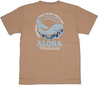 ALOHA MADE アロハメイド メンズ 半袖 Tシャツ (メンズ L.ベージュ) 202MA1ST135 デニム貼り付け 刺繍柄 フララニ サーフブランド ハワイアン 雑貨 (XLサイズ)
