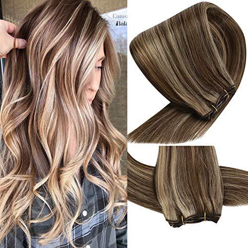 VeSunny Highlight Bundles Human Hair Brazilian Real Hair Weft #4/27 Dark Brown Highlight Caramel Blonde 24inch Sew in 100% Human Hair Extensions Weft Sew in 100G/Bundle