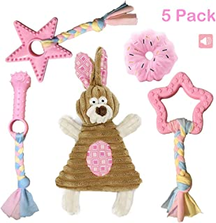 Volacopets Puppy Toys for Teething, Puppy Chew Toys for Small Dogs, Pink, 5-Pack