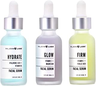 Valjean Labs Facial Serum, Combo Pack of Hydrate, Glow, and Firm (1oz Bottles)