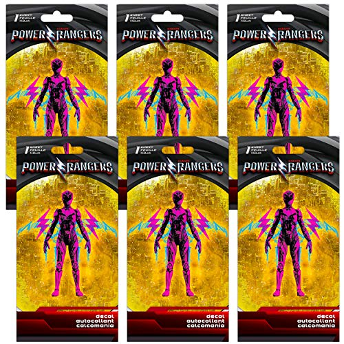 Power Rangers Pink Ranger Party Favor Decals for Cars Walls Ultimate Set - 6 Pack Premium Bundle Pink Ranger Superhero Decal Stickers for Laptop, Car, MacBook (Power Rangers Party Supplies)